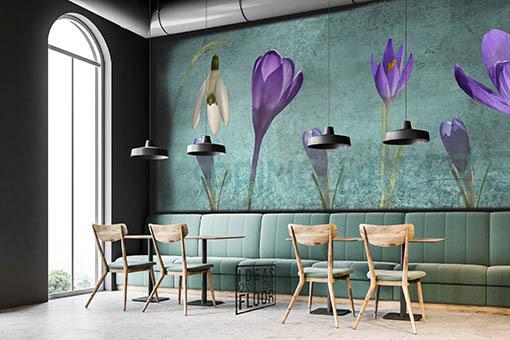 Fotomuur Spring Breeze aqua in het interieur van een café