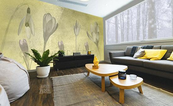 Fotomuur-spring-breeze-geel-in-woonkamer
