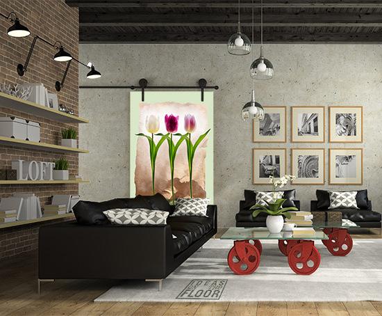 Fotomuur Tulip fever groen