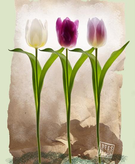 Doek-met-tulpen-groen