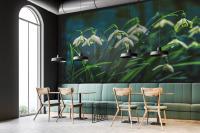 Ideasonthefloor.com  fotomuur sneeuwklokjes groen Titel: Snowdrop Feelings in een café