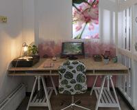 Ideasonthefloor.com textielposter 461317 tulpen parkiettulpen in werkruimte
