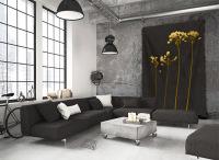 Ideasonthefloor.com  Wandkleed  Zwart Botanisch / Wandkleed Zwart Bloemen Bladeren / Wandkleed Crispy Zwart Extra Groot In Loft