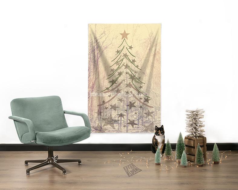 Woonkamer-met-wandkleed-Kerstboom-Never-Dull