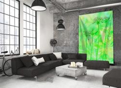 Wandkleed botanisch-Wandkleed bloemen-Wandtapijt-bladeren-Crispy-groen